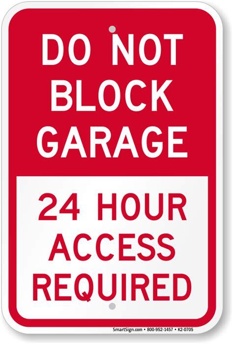 garage parking signs