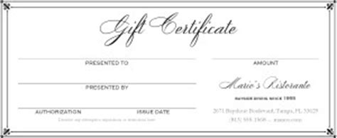 restaurant gift certificates templates