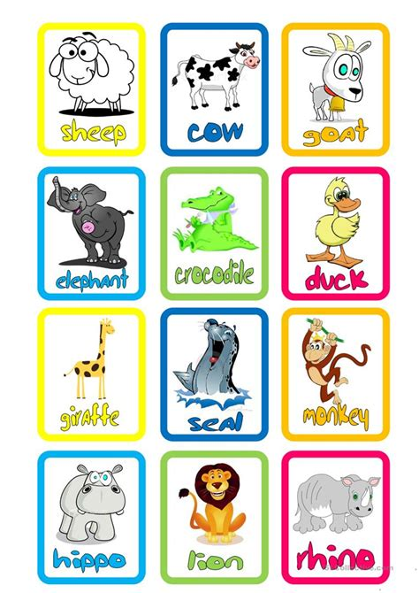 esl printable animal flashcards animal flashcards worksheet free esl printable