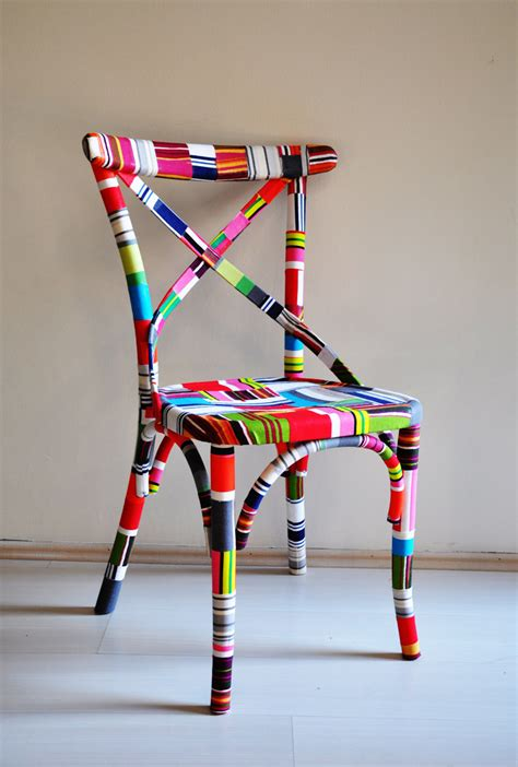 chair covered in fabric scraps 4 x colorful thonet
