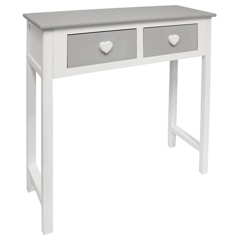 bedroom console table hartleys white grey 2 drawer dressing console side