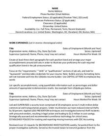 federal resume template sle federal resume 8 exles in word pdf