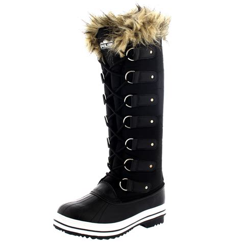 womens fur cuff lace up rubber sole knee high winter snow shoe boots 3 10 ebay