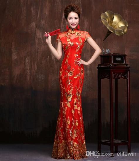 Hot Sale Elegant Dress for Women Slim Chinese Long Mermaid