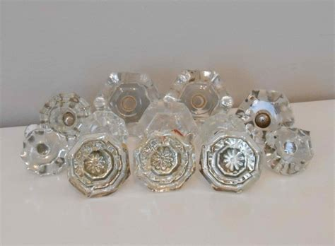 12 assorted vintage and antique glass cabinet drawer knobs