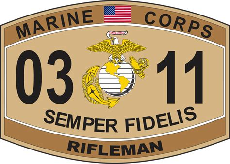 Marine Corps Officer Mos by Rifleman Marine Corps Mos 0311 Usmc Decal