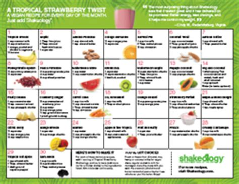 printable shakeology recipes chalean extreme reviews calendar template 2016