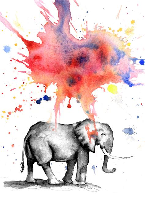 elephant nursery print from original watercolor painting