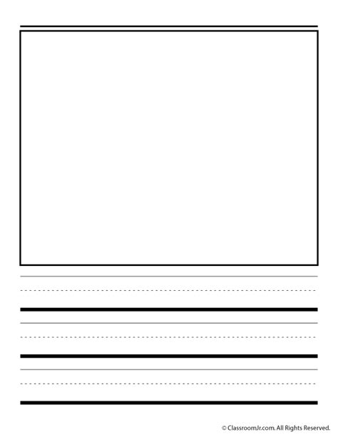 printable lined paper with drawing box handwriting paper with box portrait woo jr kids