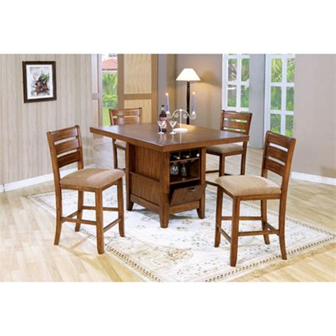 counter height 5 dining table kitchen island set with wine rack in oak finish by coaster