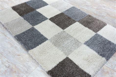 gewicht teppich teppich hochflorteppich shaggy teppich kariert grau