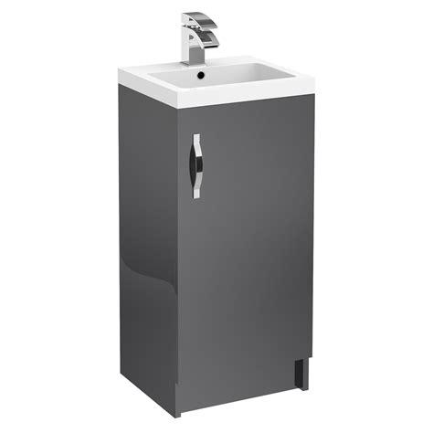 Grey Floor Standing L Apollo 400mm Single Door Floorstanding Unit With Basin