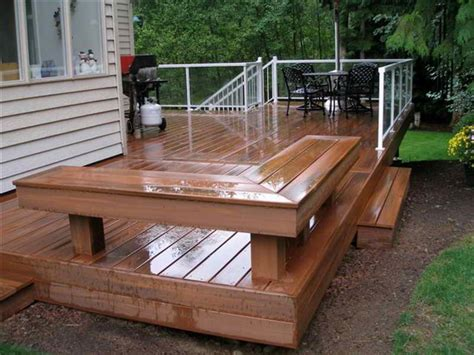 bench deck decorating simple wood deck design ideas with benches