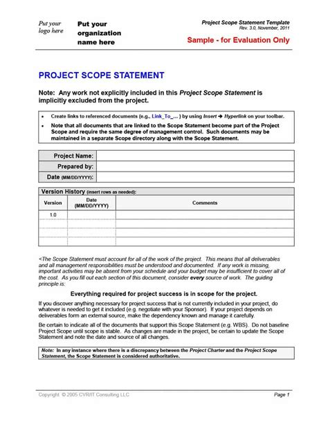 43 Project Scope Statement Templates Exles ᐅ Template Lab Scope Statement Template