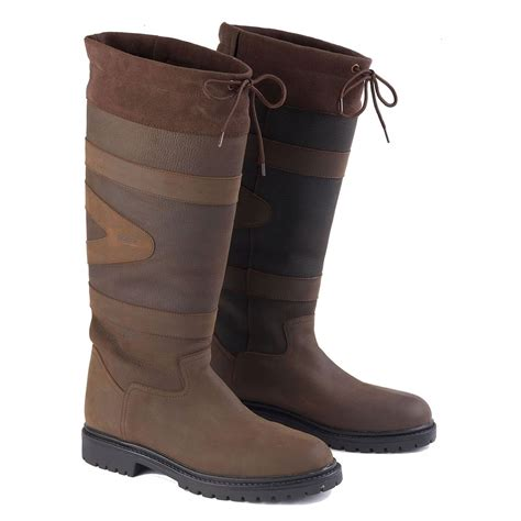 toggi leather country boots unisex chocolate