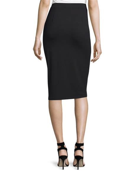 eileen fisher calf length pencil skirt black