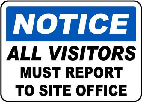 Baustellenschild Englisch by Visitors Report Site Office Sign By Safetysign G2386