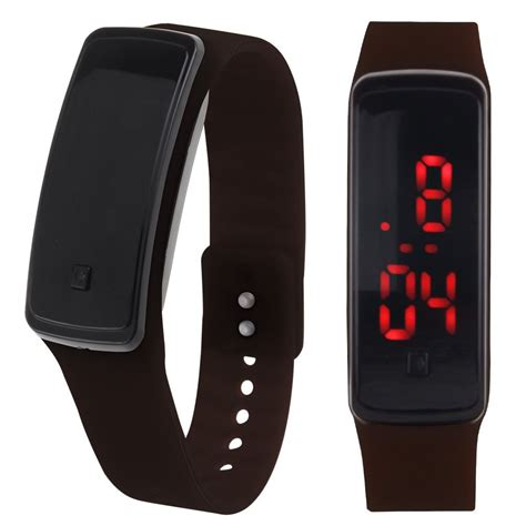 womens mens silicone band digital led bracelet wristwatch