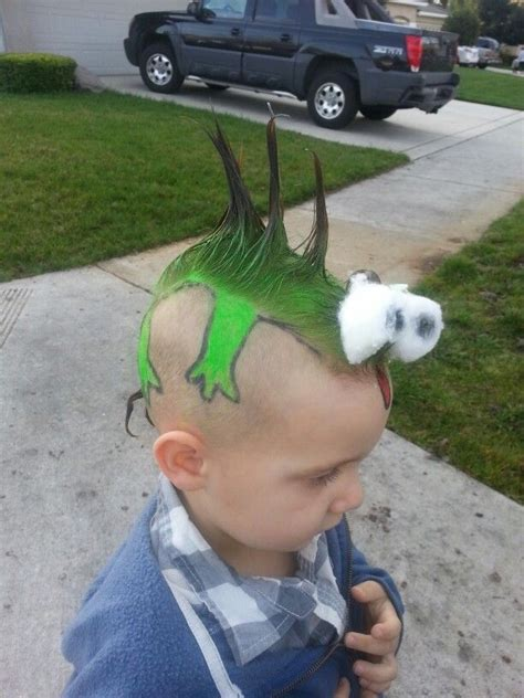 crazy hair day  school   lizard    sons