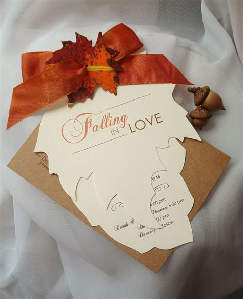 Leaf Themed Wedding Invitations by Falling In Cut Autumn Leaf Wedding By Envymarketing
