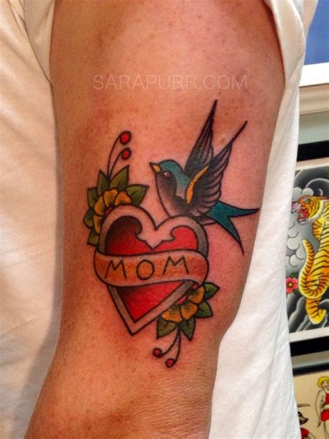 classic old traditional mom heart and swallow