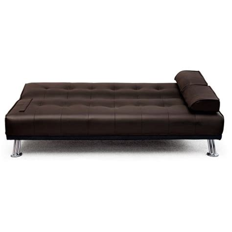Brown Faux Leather Futon by Large Italian Faux Leather 3 Seater Sofa Bed Futon 12002