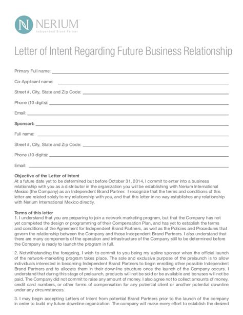 Letter Of Intent For Future Business Nerium M 233 Xico Launch Details
