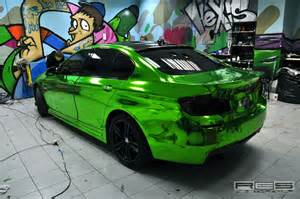 bmw f10 chrome green wrap