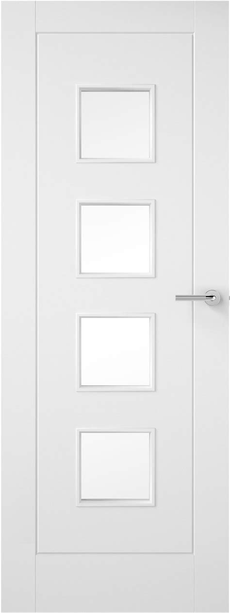 4 Panel White Interior Doors 1 Pane Glazed Smooth White Primed Door