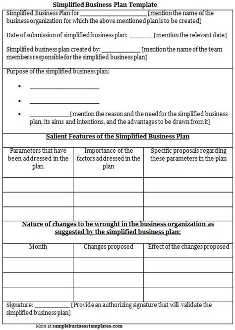 simplified business plan template sle business templates