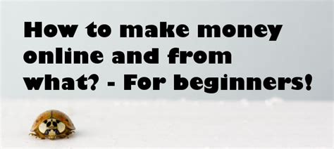 How To Make Money Online For Beginners - how to make money online and from what for beginners