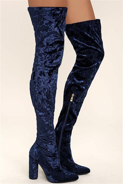 lovely royal blue thigh high boots velvet boots otk