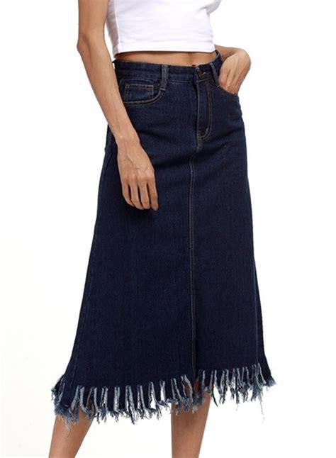 high waist solid color fringe a line denim skirt azbro