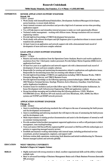application support engineer sle resume free printable