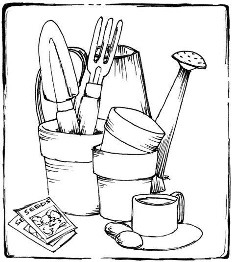 coloring page garden tools beccy s place gardening items