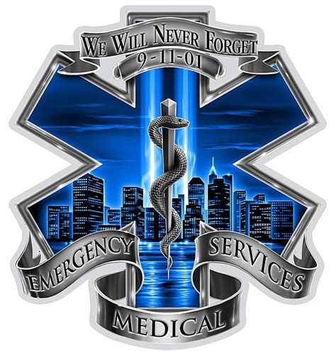 blue sky never forget ems star of life decal