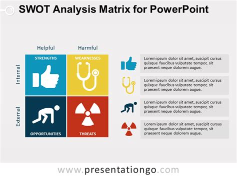 Swot Analysis Matrix For Powerpoint Presentationgo Com Swot Analysis Template Powerpoint Free