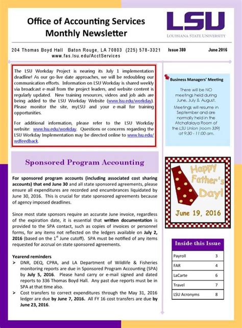 Office Of Accounting Services Monthly Newsletter Download Free Premium Templates Forms Accounting Newsletter Templates