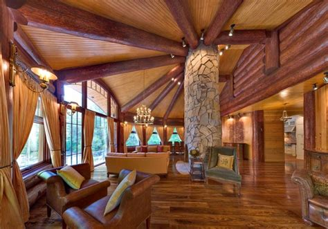 this beautiful yet rustic freestanding post and beam log cabin homes kits interior photo gallery