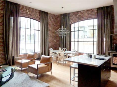 loft window curtains office interior rendering