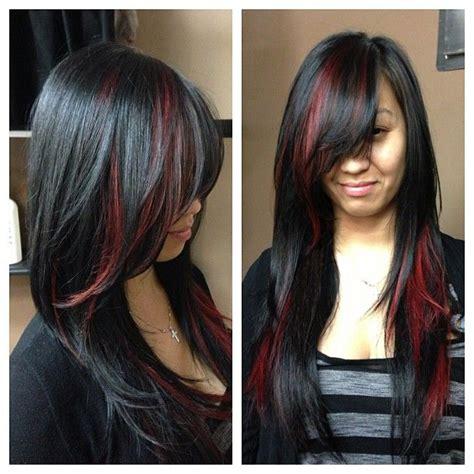 black hairstyles red hair maroon streaks in black hair www pixshark com images