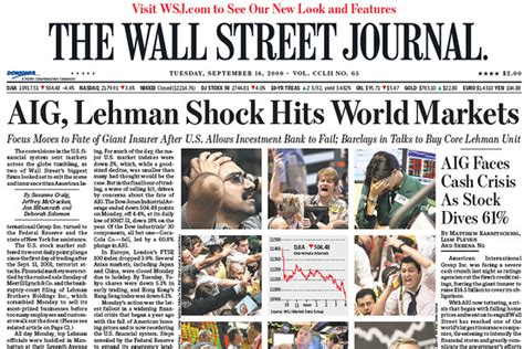 wall street journal real estate section this day in crisis history sept 15 16 2008 moneybeat