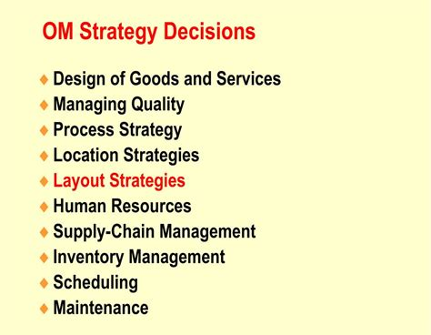 layout strategy in operations management ppt ppt operations management chapter 9 layout strategy