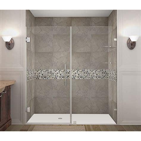 stainless steel shower doors aston nautis gs 76 in x 72 in completely frameless hinged shower door with glass shelves in