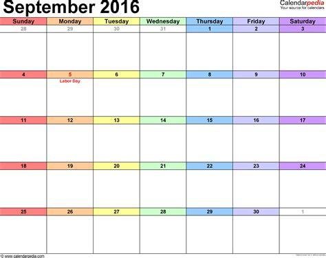 september 2016 calendars for word excel pdf
