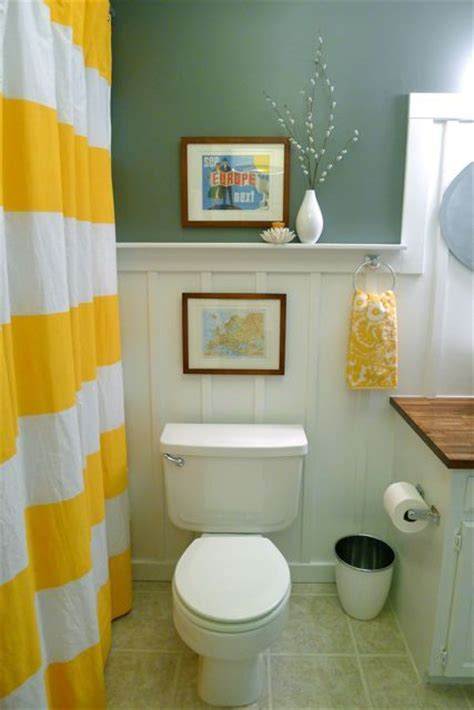 Yellow and white with teal ish gray bathroom pinterest