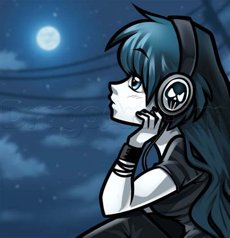 with headphones how to draw a with headphones step by step anime anime draw japanese