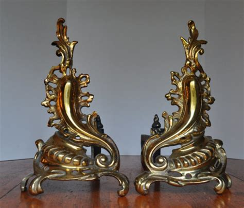 antique solid brass fireplace andirons chenets by