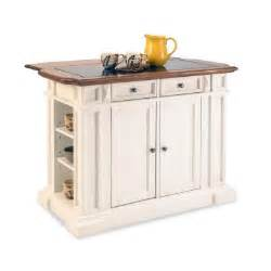 home styles deluxe traditions kitchen island in white with oak top and black granite inlay