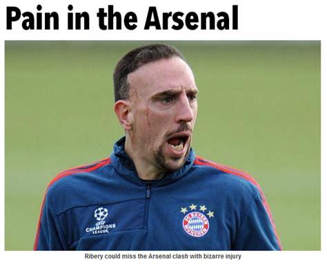 arsenal jokes bayern star franck ribery a doubt for arsenal match after